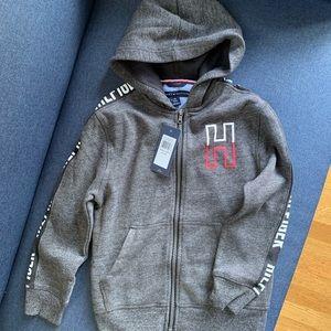 Tommy Hilfiger Hooded Grey Zip Up Sweatshirt